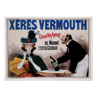 Xeres Vermouth Vintage Wine Drink Ad Art Poster