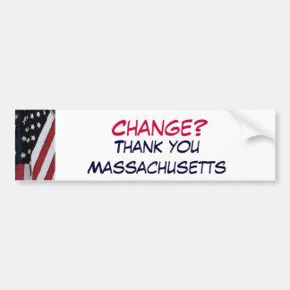 ¿XG- cambio? , Gracias Massachusetts Pegatina Para Auto