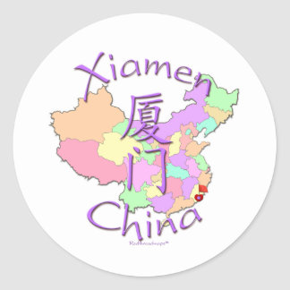 Xiamen China Pegatina Redonda