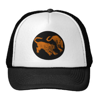 Xian China 2002 Brown Ghost Tigers Black Circle Tr Trucker Hat