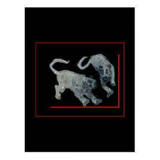 Xian China 2002 Ghost Tigers Red Boarder jGibney Postcard