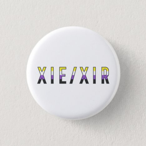 Xie/Xir Non-Binary Pride Flag Pronouns Badge Button