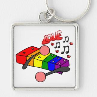 Xilófono de LGBT Llavero Cuadrado Plateado