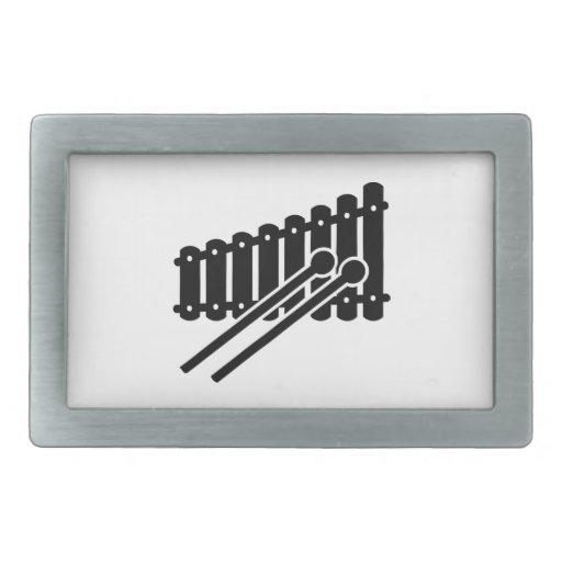 Xilófono negro hebillas cinturón rectangulares