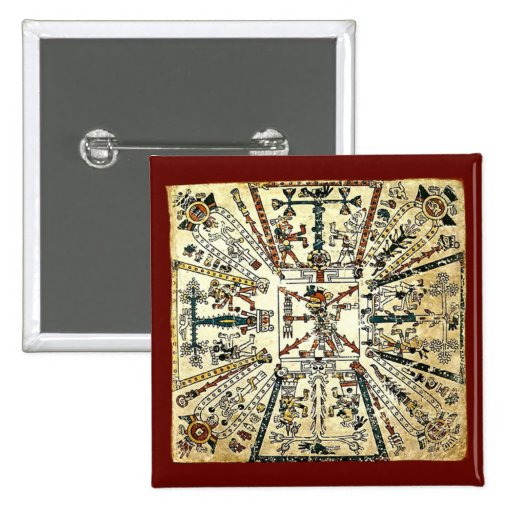 Xiuhtecuhtli Aztec Death God 2 Inch Square Button
