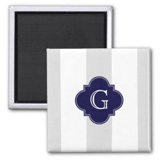 XL Lt Gray White Stripes Navy Quatrefoil Monogram 2 Inch Square Magnet