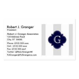 XL Lt Gray White Stripes Navy Quatrefoil Monogram Business Card Template