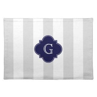 XL Lt Gray White Stripes Navy Quatrefoil Monogram Cloth Placemat