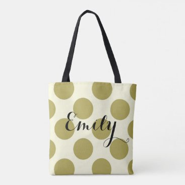 Beach Themed XL polka dots  green cream customizable with name Tote Bag