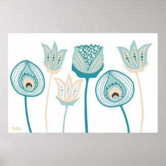 XL Turquoise Aqua Vintage Funky Flower Art Poster