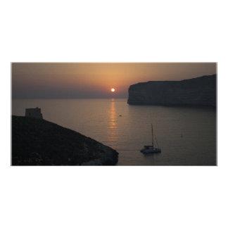 Xlendi Sunset Personalized Photo Card