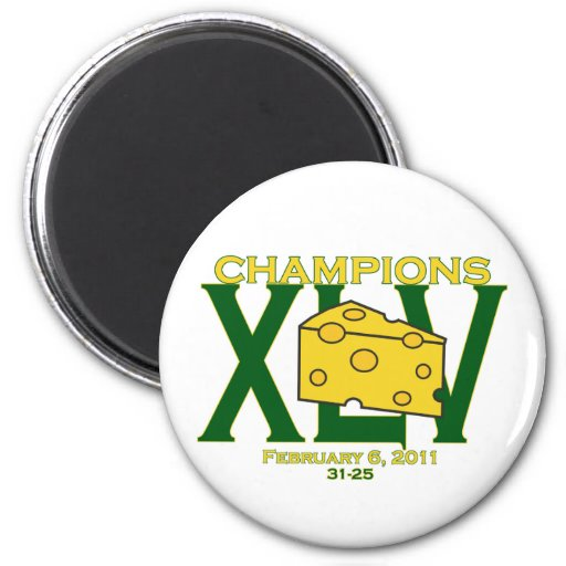 XLV 45 green and yellow champs football magnet