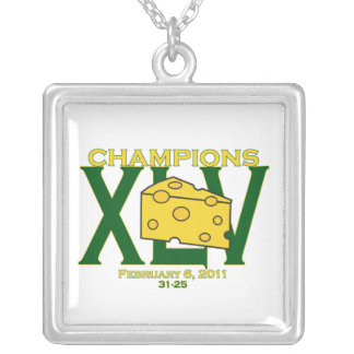 XLV 45 green and yellow champs football necklace