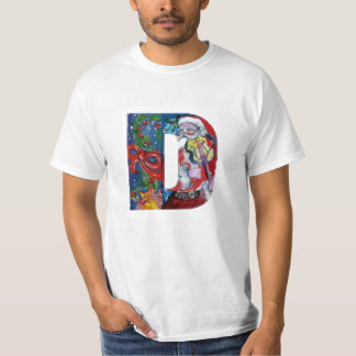 XMAS A LETTER /SANTA  CLAUS WITH VIOLIN MONOGRAM T-Shirt