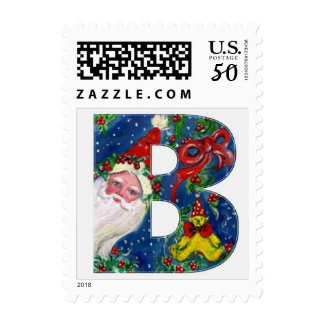 XMAS B LETTER /SANTA CLAUS WITH RED RIBBON AND CAT POSTAGE
