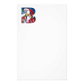 XMAS B LETTER /SANTA  CLAUS WITH VIOLIN MONOGRAM STATIONERY