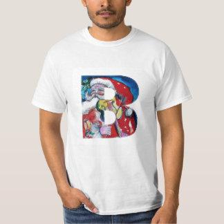 XMAS B LETTER /SANTA  CLAUS WITH VIOLIN MONOGRAM T-Shirt