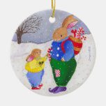 Xmas basket bunny ornament