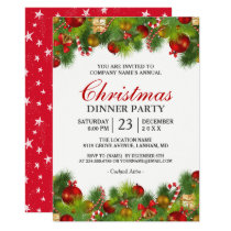 Xmas Baubles Pines Berries Annual Christmas Party Invitation