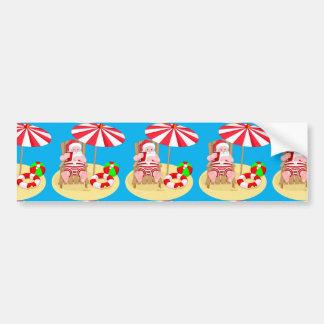 xmas beach santa claus bumper sticker