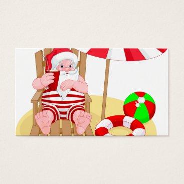 Beach Themed xmas beach santa claus business card