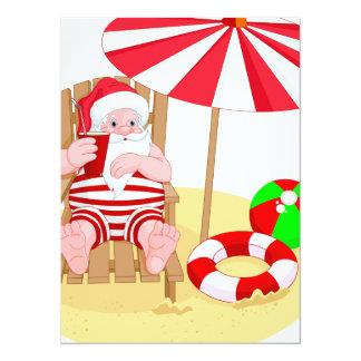 xmas beach santa claus card