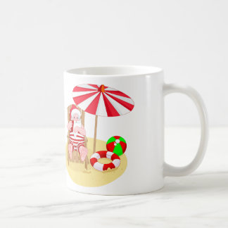 xmas beach santa claus coffee mug