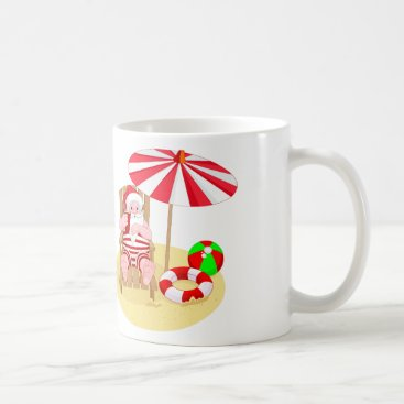 Beach Themed xmas beach santa claus coffee mug