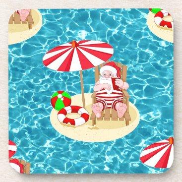 xmas beach santa claus drink coaster