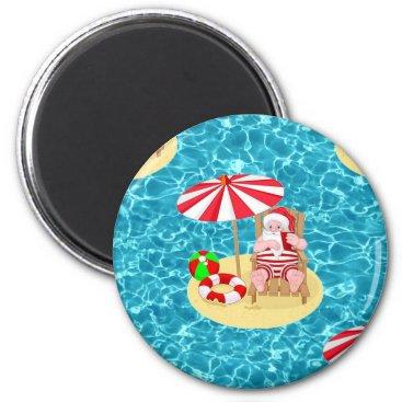 xmas beach santa claus magnet