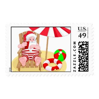 xmas beach santa claus postage