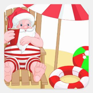 xmas beach santa claus square sticker
