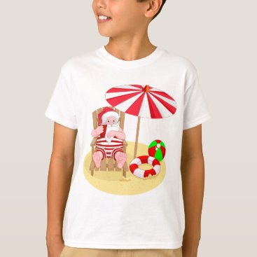 Beach Themed xmas beach santa claus T-Shirt