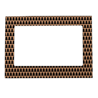 xmas black and brown trees triangles pattern sm magnetic picture frame