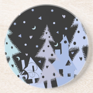 Xmas blue town drink coaster