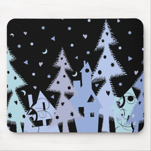Xmas blue town mouse pads