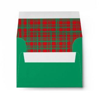 Xmas Brush Checks green Invitation Envelope A2 envelope