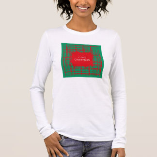 Xmas Brush Checks green Ladies Fitted Long Sleeve Long Sleeve T-Shirt