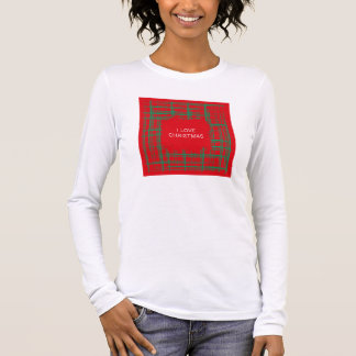 Xmas Brush Checks red Ladies Fitted Long Sleeve Long Sleeve T-Shirt
