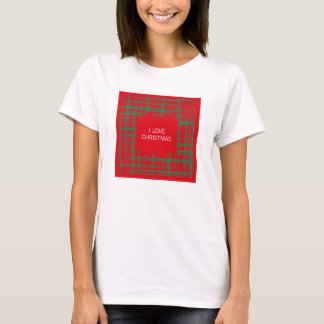 Xmas Brush Checks red Ladies Fitted T-shirt