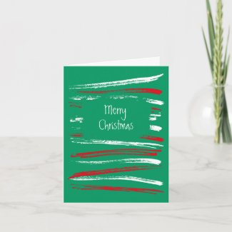 Xmas Brush Stripe green Note Card card