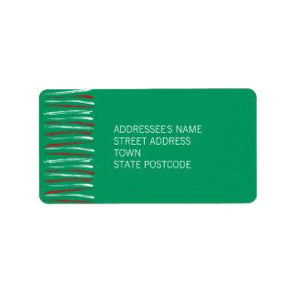 Xmas Brush Stripes green Address Label