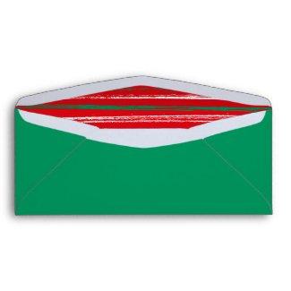 Xmas Brush Stripes green Envelope #10 envelope