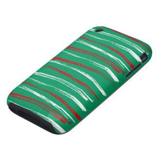 Xmas Brush Stripes green iPhone 3G Tough Tough iPhone 3 Case