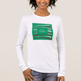 Xmas Brush Stripes green Ladies Fitted Long Sleeve Long Sleeve T-Shirt