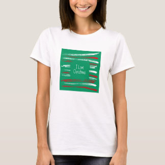 Xmas Brush Stripes green Ladies Fitted T-shirt