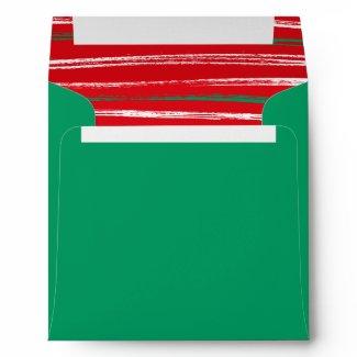 Xmas Brush Stripes green Square Envelope envelope