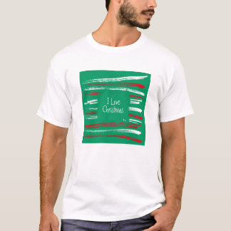Xmas Brush Stripes green T-shirt