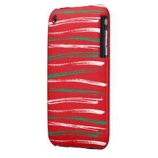 Xmas Brush Stripes red iPhone 3G Barely There iPhone 3 Case-Mate Case