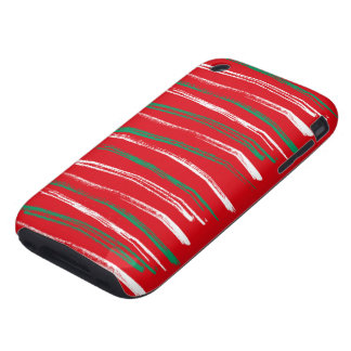 Xmas Brush Stripes red iPhone 3G Tough Tough iPhone 3 Case